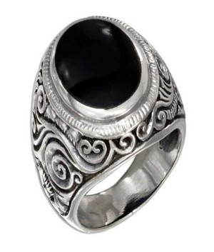 Men's Silver and Bezel Set Oval Onyx Ring - JP2033