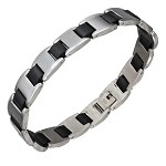 Stainless Steel Polished and Black Link Bracelet - JPBR2969