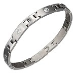 Stainless Steel Brushed Bar Link Bracelet with Screw Accents - JPBR2975