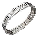 Stainless Steel Triple Cable Frame Link Bracelet - JPBR2977