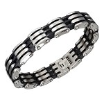 Stainless Steel Black and Plain Open Link Bracelet - JPBR2978