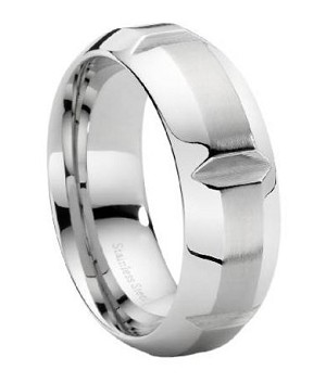 Stainless Steel Wide Notched Ring - JSS0013
