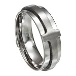 Stainless Steel Ring with Raised Cross - JSS0016