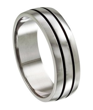 Stainless Steel Wedding Ring with Deep Lines - JSS0019