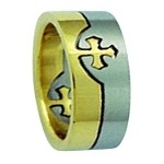 Two-Tone Stainless Steel Cross Puzzle Ring - JSS0046