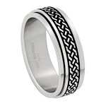 Stainless Steel Spinner Ring with Geometric Design - JSS0052