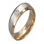 "Stainless Steel Two-toned ""Forever Love"" Ring - JSS0070"