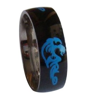 Black Stainless Steel Ring With Blue Dragon Design - JSS0087