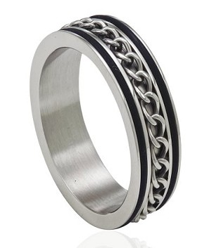 Stainless Steel Ring With Spinning Chain and Black Trim - JSS0088