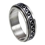 Antiqued Wave Spinner Ring - JSS0121