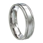Men's Stainless Steel Wedding Band with Grooved Edges and Polished Finish | 6mm - JSS0136