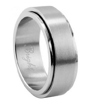 Men's Stainless Steel Spinner Ring with Satin Finish and Polished Edges | 7mm - JSS0147