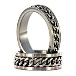 Brushed Stainless Steel Ring with Spinning Chain - JSS0152
