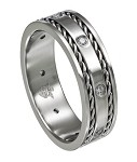 Stainless Steel Wedding Band with CZ's and Woven Edging - JSS0175