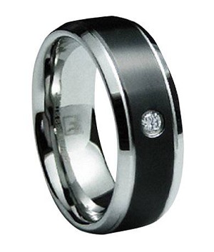 Men's Black Finish Stainless Steel Wedding Band with Single CZ| 8mm - JSS0189