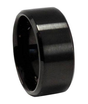 Men's Stainless Steel Black Wedding Band with Matte Finish | 10mm