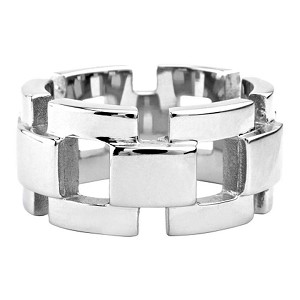 Polished Stainless Steel Curb Chain Biker Ring | 12mm - JSS0203