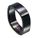 Four Sided Polished Black Stainless Steel Ring for Men | 8mm