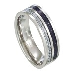 Stainless Steel and Carbon Fiber Ring for Men, Flat Profile | 8mm