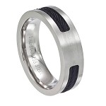 Men's Black Cable Stainless Steel Ring with Satin Finish | 7mm- JSS0618