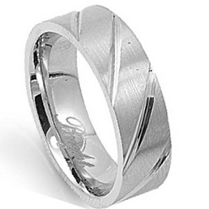 Men's Stainless Steel Wedding Band with Polished Diagonal Grooves | 7mm - JSS0621