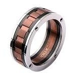 Men's Stainless Steel and IP Black Spinner Ring with Vertical Copper Groove on the Middle