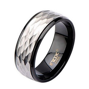 Men's Stainless Steel Matte and IP Black Polished Spinner Ring