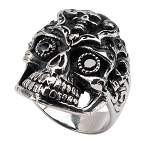 Men's Sovereign Steel Black Oxidized Multi - Skull Ring