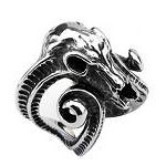 Men's Stainless Steel Oxidized Mountain Goat Head