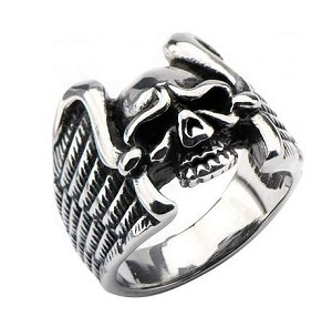 Men's Stainless Steel Black Oxidized Skull with Wings Ring