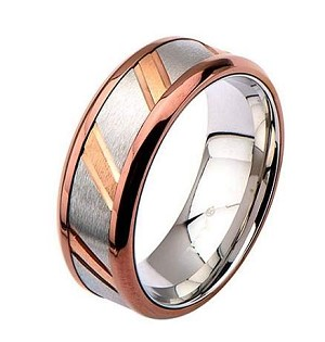 Men's Stainless Steel and IP Rose Gold with Diagonal Lines in the Center