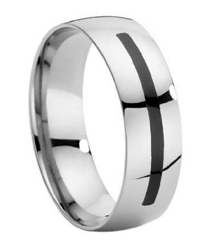 Men's Titanium Wedding Band with Enamel Insert - JT0008