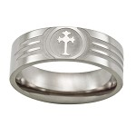 Men's Titanium Lasered Cross Ring with Flat Face and Polished Finish | 8mm - JT0020