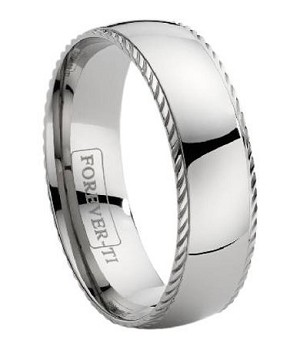Titanium Wedding Band with a Decorative Ridge - JT0115