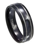 Men's Black Titanium Wedding Band with Silver Bands and Polished Finish | 7mm - JT0121