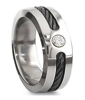 Black Cable Titanium Ring with CZ - JT0123