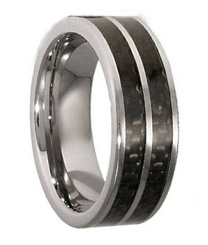 Titanium Ring With a Double Carbon Fiber Inlay - JT0124
