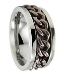 Men's Titanium Spinner Ring with Bronze Tone Chain and Polished Finish | 8mm - JT0129
