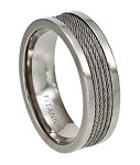 Men's Polished Titanium Ring with Four Center Cables | 8.3mm - JT0130
