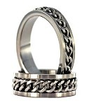 Men's Titanium Ring with Spinning Chain and Polished Finish | 8mm - JT0132