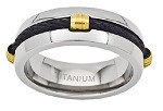 Men's Titanium Black Cable Ring with Polished Finish and Gold Plated Accents |8mm - JT0133