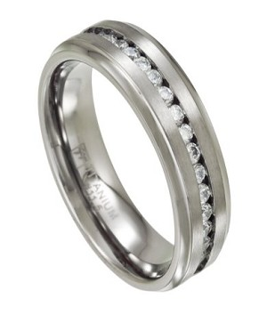 Mens Eternity Titanium Wedding Ring with Channel-Set CZs | 7mm - JT0140