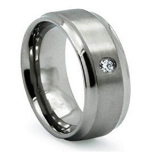 Men's Titanium Satin Finished Wedding Ring with Single CZ | 8mm - JT0144