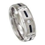 Men's Titanium Wedding Ring with Black Resin and 4 CZs | 7mm - JT0149