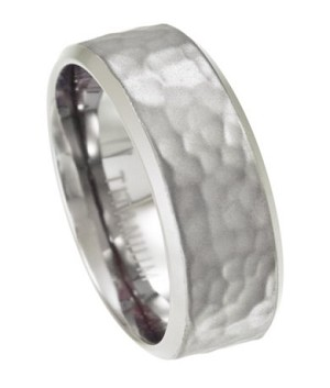 Men's Titanium Wedding Ring with Hammered Texture | 8mm - JT0150