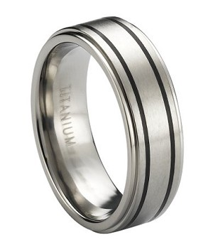 Satin-Finished Titanium Ring with Blackened Bands and Polished Step-Down Edges | 8mm - JT0179