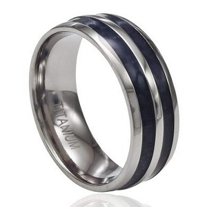 Men's Titanium Ring with Two Rows of Black Carbon Fiber and Rounded Edges | 8mm - JT0190