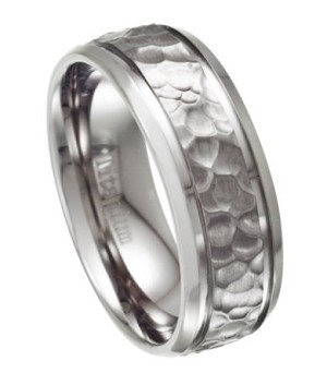 Hammered Ring for Men in Titanium, Polished Beveled Edges | 8mm