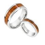 His and Hers Titanium Koa Wood Matching Rings