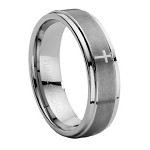 Men's Tungsten Carbide Ring with Lasered Cross - JTG0010